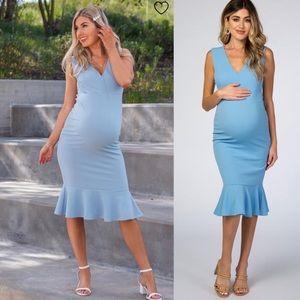 PinkBlush Blue Sleeveless Ruffle Maternity Dress